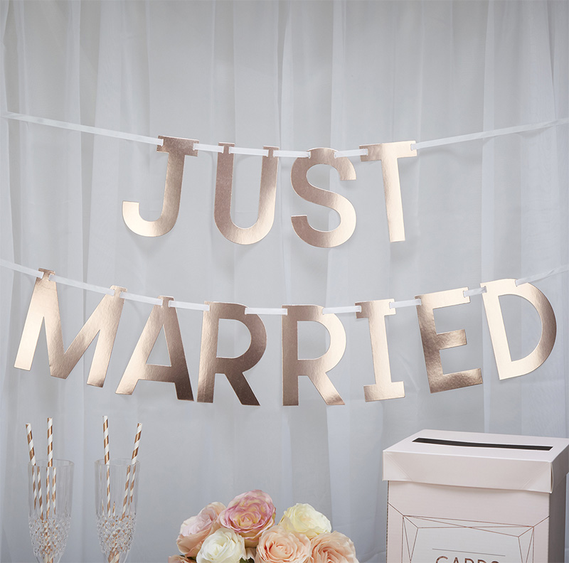 Girlande Just Married Metallic
